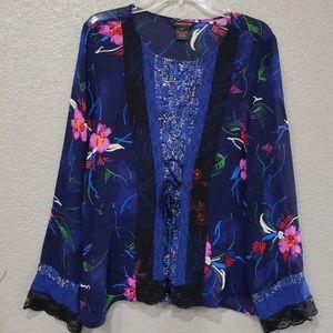 Francesca rose blue floral long sleeve top